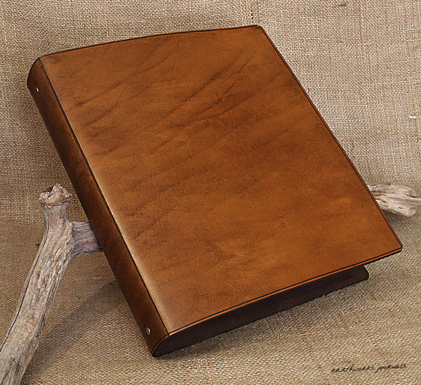 A4 brown leather 4 ring binder - plain classic 2 - earthworks journals A4B002
