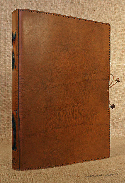 A4 brown leather journal - plain classic 2 - earthworks journals A4PC001