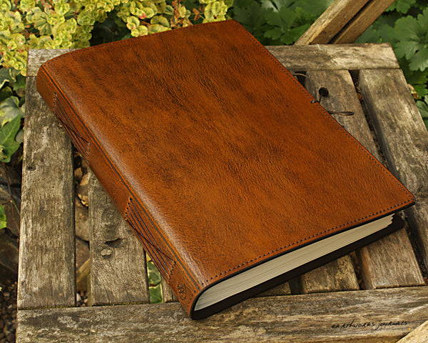 A4 brown leather journal - plain classic 3 - earthworks journals A4PC001