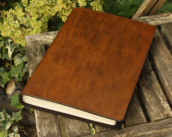 A4 brown leather journal - plain classic 4 - earthworks journals A4PC001