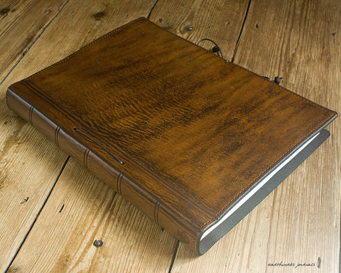 A4 brown leather journal - plain classic - earthworks journals A4PC003