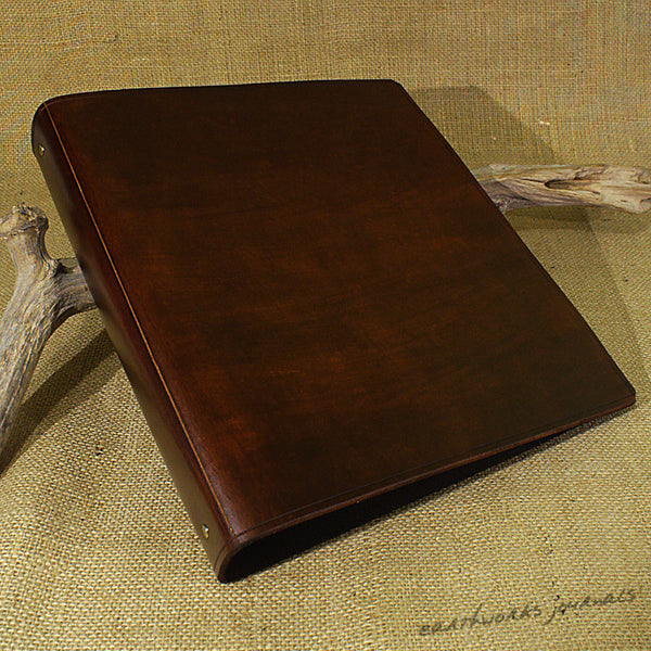 A4 dark brown leather 4 ring binder - plain classic 2 - earthworks journals A4B003