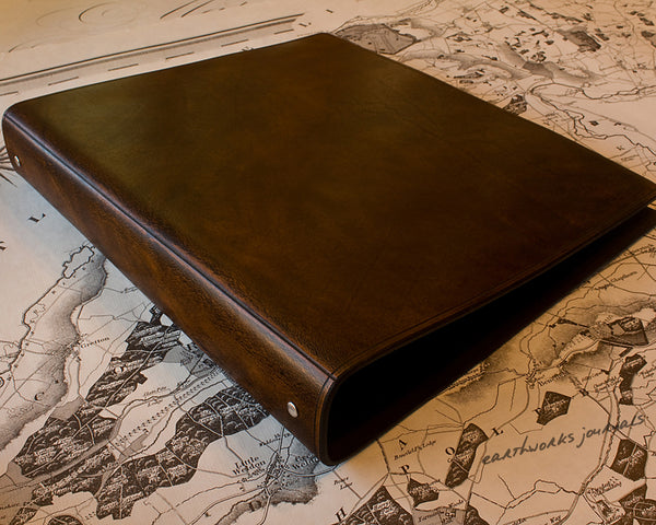 A4 dark brown leather 4 ring binder - plain classic - earthworks journals A4B003