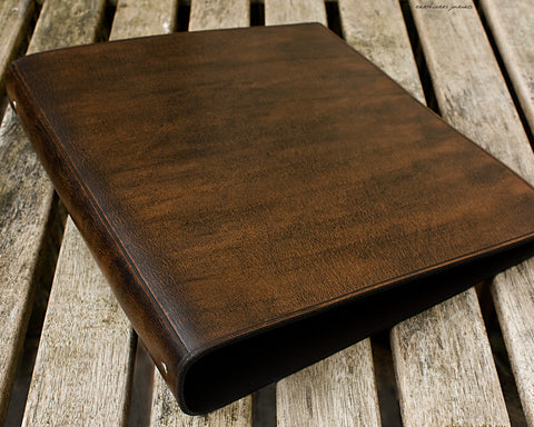 A4 dark brown leather 4 ring binder 5 - plain classic - earthworks journals A4B003