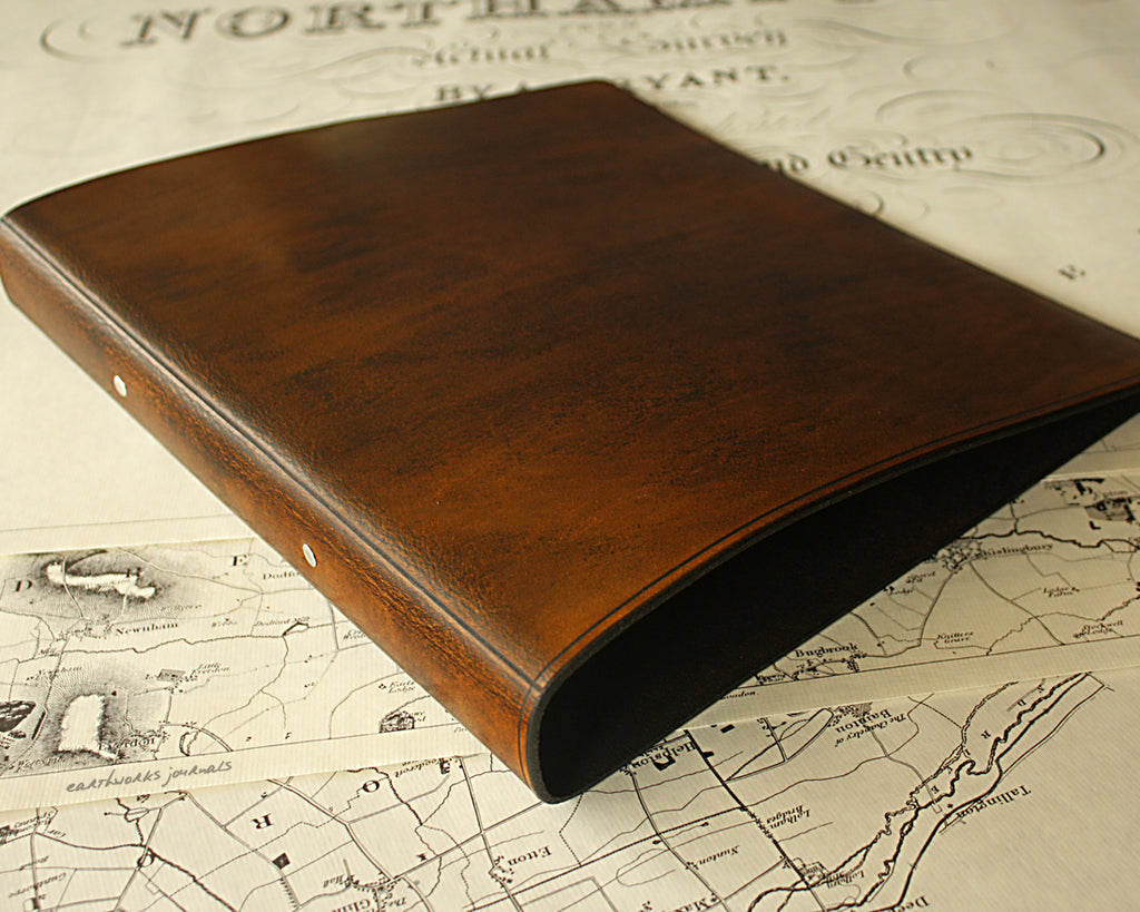 A4 dark brown leather 2 ring binder - plain classic - earthworks journals A4B005