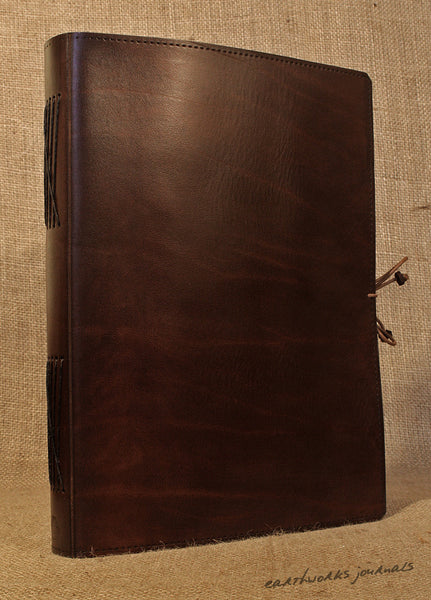 A4 dark brown leather journal - plain classic 3 - earthworks journals A4PC004