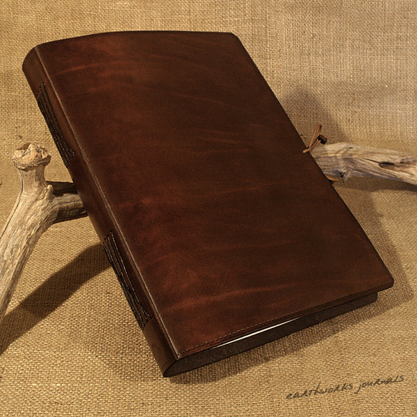 A4 dark brown leather journal - plain classic 2 - earthworks journals A4PC004