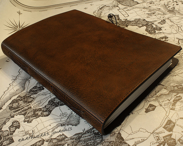A4 dark brown leather journal - plain classic - earthworks journals A4PC004