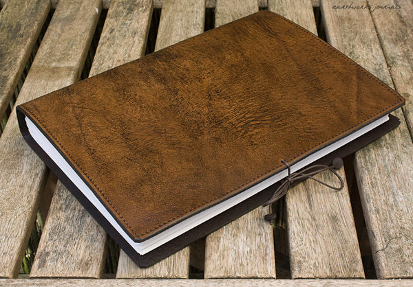 A4 dark brown leather journal - plain classic 5 - earthworks journals A4PC004