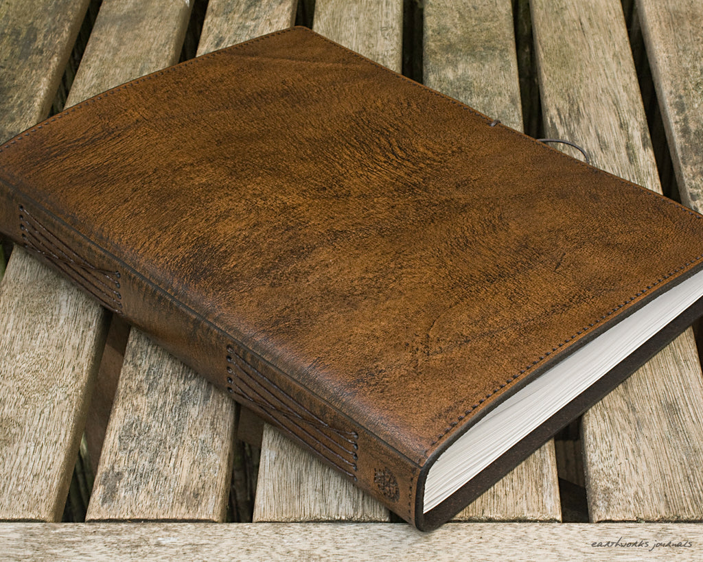 A4 dark brown leather journal - plain classic 4 - earthworks journals A4PC004