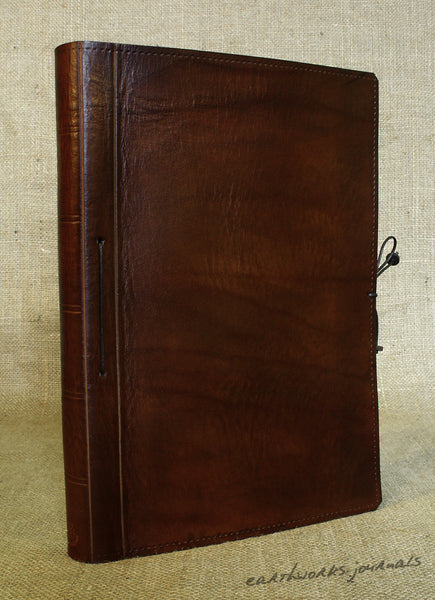 A4 dark brown leather journal - plain classic 2 - earthworks journals A4PC005