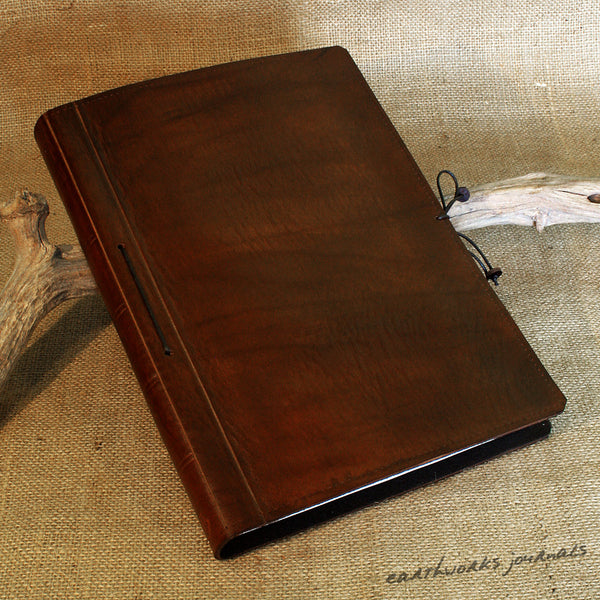 A4 dark brown leather journal - plain classic 3 - earthworks journals A4PC005
