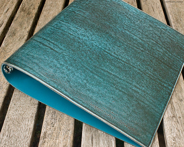 A4 distressed sea blue leather 4 ring binder 3 - earthworks journals A4BC007