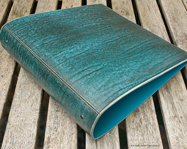 A4 distressed sea blue leather 4 ring binder - earthworks journals A4BC007