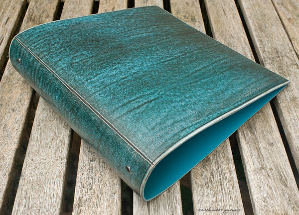 A4 distressed sea blue leather 4 ring binder 2 - earthworks journals A4BC007