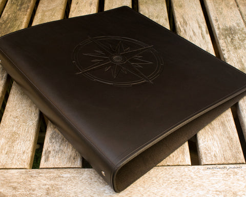 A4 black leather 4 ring binder - compass rose design - ships log - earthworks journals A4B013