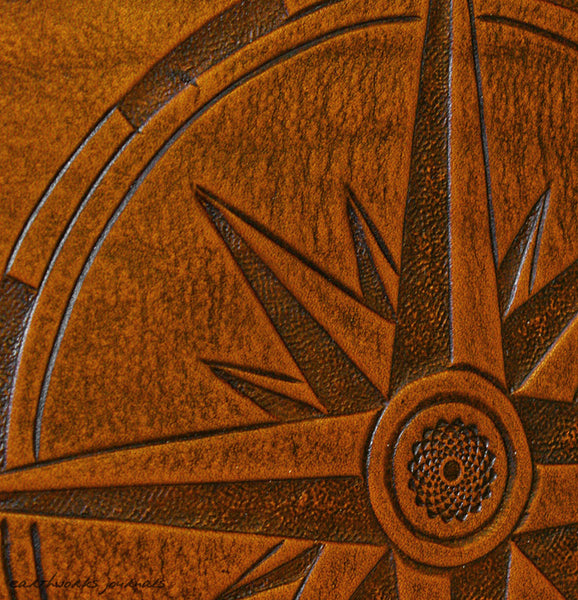 A4 brown leather journal - ship's log - compass rose detail - earthworks journals A4C014