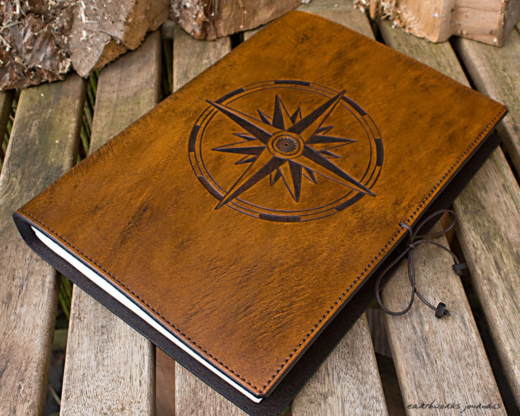 A4 brown leather journal - ship's log - compass rose 3 - earthworks journals A4C014