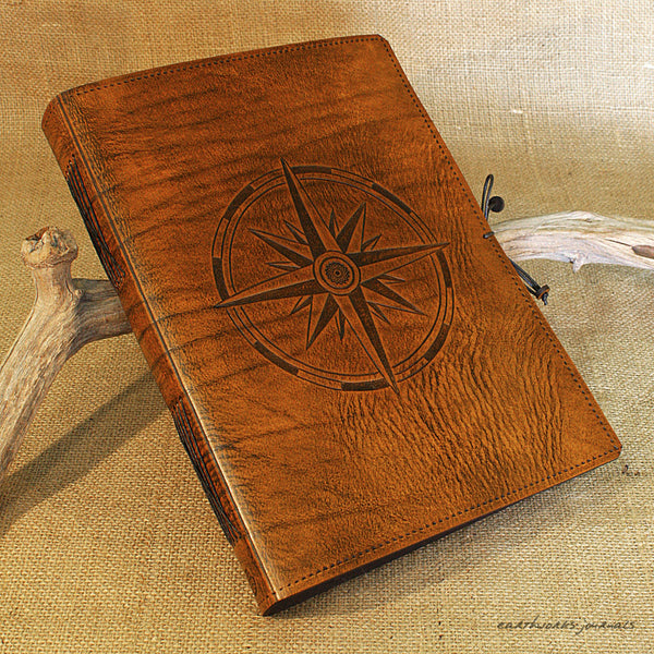 A4 brown leather journal - ship's log - compass rose - earthworks journals A4C014