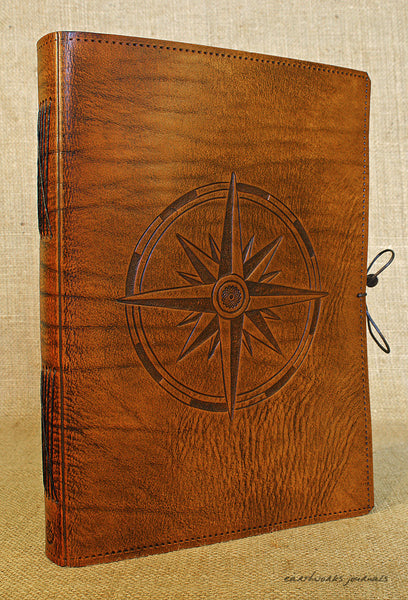 A4 brown leather journal - ship's log - compass rose 2 - earthworks journals A4C014