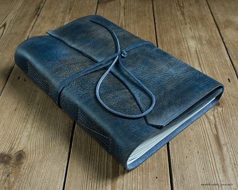A4 distressed blue leather journal - wraparound - earthworks journals - A4W005