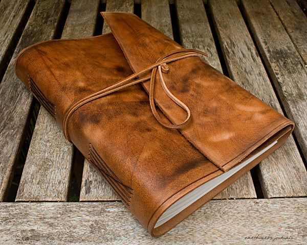 A4 distressed brown leather journal - wraparound - earthworks journals - A4W001