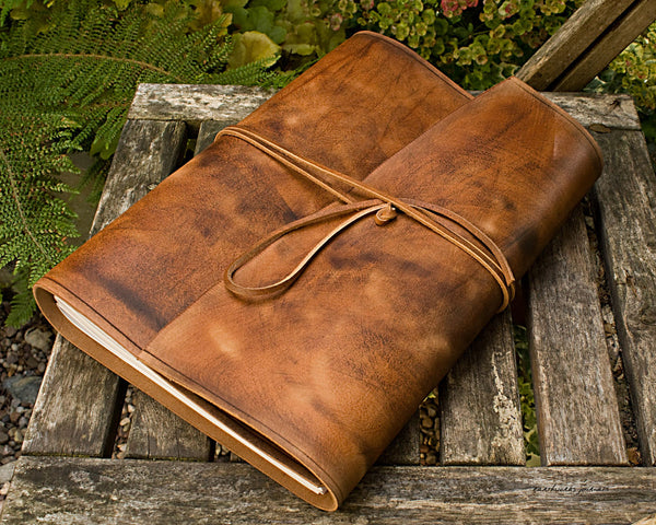 A4 distressed brown leather journal - wraparound 2 - earthworks journals - A4W001