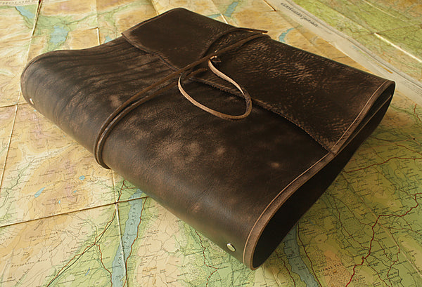 A4 distressed dark brown leather ring binder - wraparound - earthworks journals - A4WB001