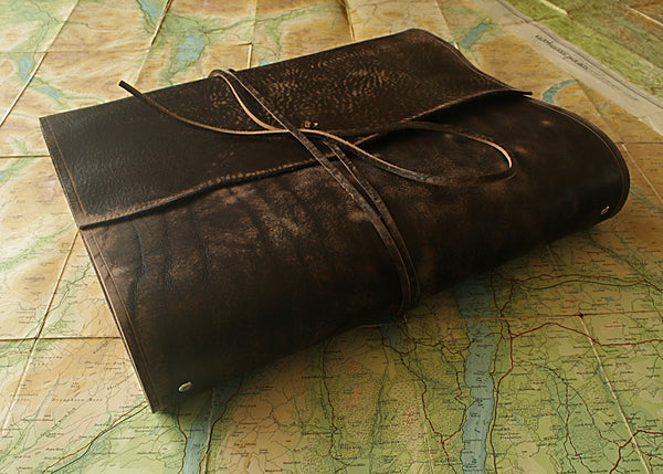 A4 distressed dark brown leather ring binder - wraparound 2 - earthworks journals - A4WB001