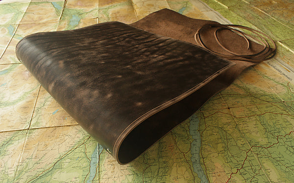 A4 distressed dark brown leather ring binder - wraparound 3 - earthworks journals - A4WB001