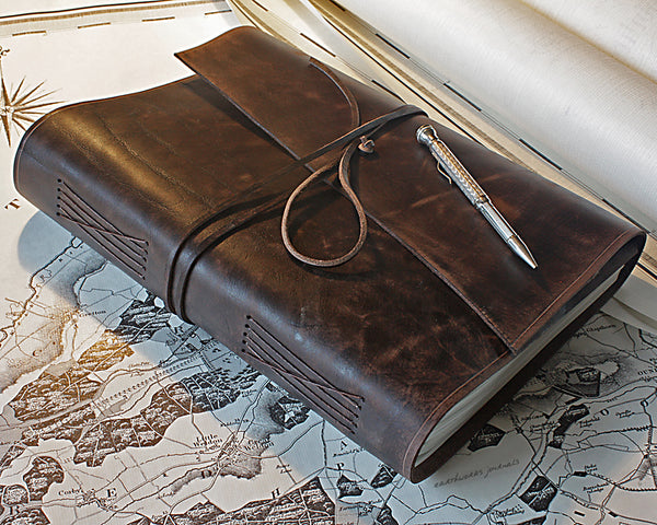 A4 distressed dark brown leather journal - wraparound - earthworks journals - A4W003