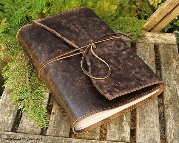 A4 distressed dark brown leather journal - wraparound 5 - earthworks journals - A4W003