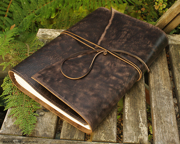 A4 distressed dark brown leather journal - wraparound 6 - earthworks journals - A4W003
