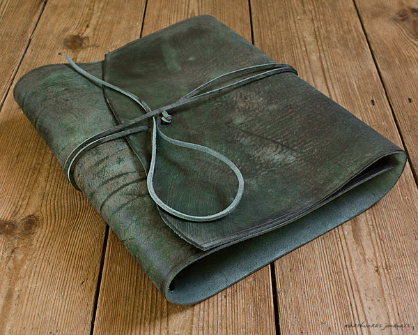 A4 distressed green leather ring binder 2 - wraparound - earthworks journals - A4WB003