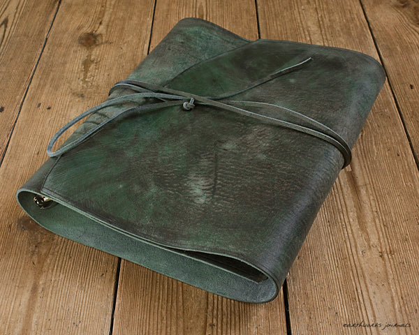 A4 distressed green leather ring binder 3 - wraparound - earthworks journals - A4WB003