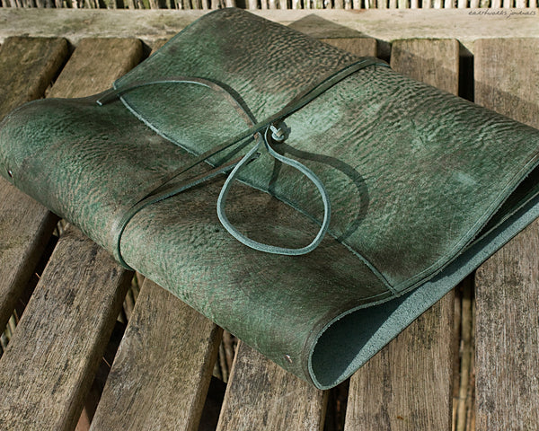 A4 distressed green leather ring binder - wraparound - earthworks journals - A4WB003