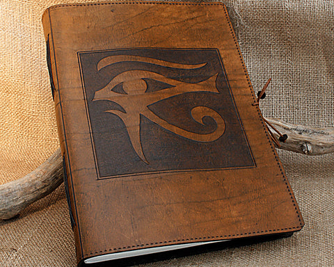A4 brown leather journal - book of shadows - egyptian eye of horus design - earthworks journals A4C007