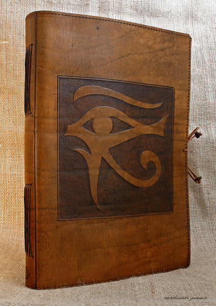 A4 brown leather journal - book of shadows - egyptian eye of horus design 2 - earthworks journals A4C007
