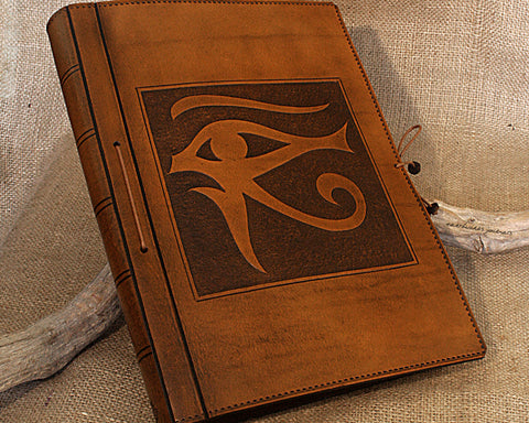A4 brown leather journal - book of shadows - egyptian eye of horus design - earthworks journals A4C008