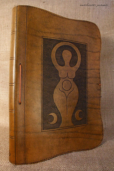 A4 brown leather journal - book of shadows - triple moon goddess design 2 - earthworks journals A4C003