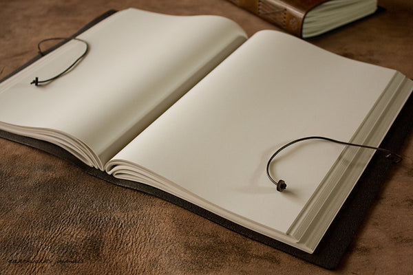 A4 dark brown leather journal - open - earthworks journals