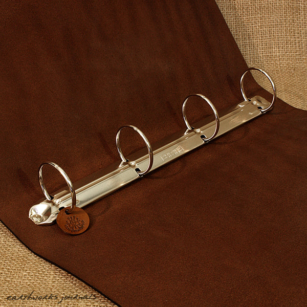 A4 dark brown leather 4 ring binder - plain classic open - earthworks journals A4B003