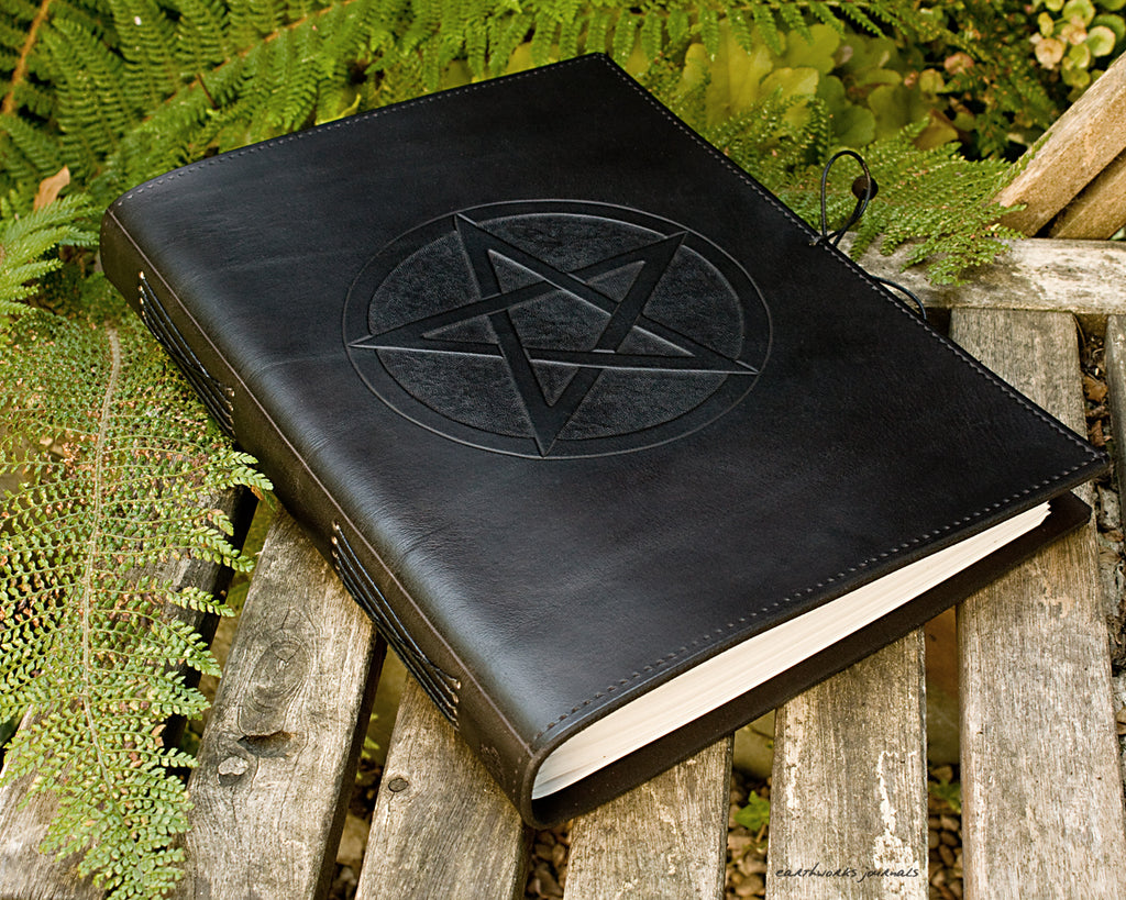 A4 black leather journal - book of shadows - pentagram design - earthworks journals A4C010