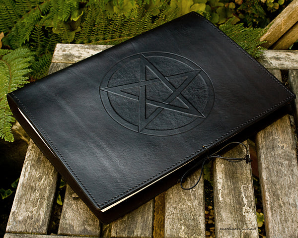 A4 black leather journal - book of shadows - pentagram design 2 - earthworks journals A4C010