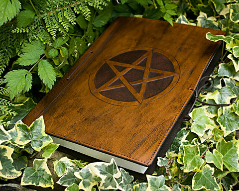 A4 brown leather journal - book of shadows - pentagram design - earthworks journals A4C001