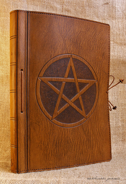 A4 brown leather journal - book of shadows - pentagram design 2 - earthworks journals A4C001