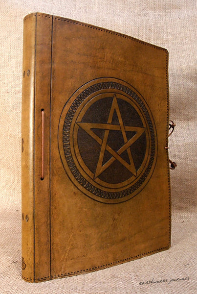 A4 brown leather journal - book of shadows - pentagram design - earthworks journals A4C006