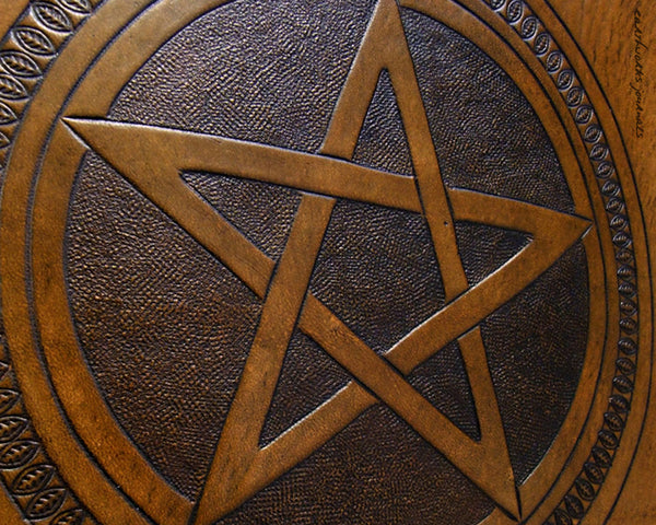 A4 brown leather journal - book of shadows - pentagram design detail - earthworks journals A4C006