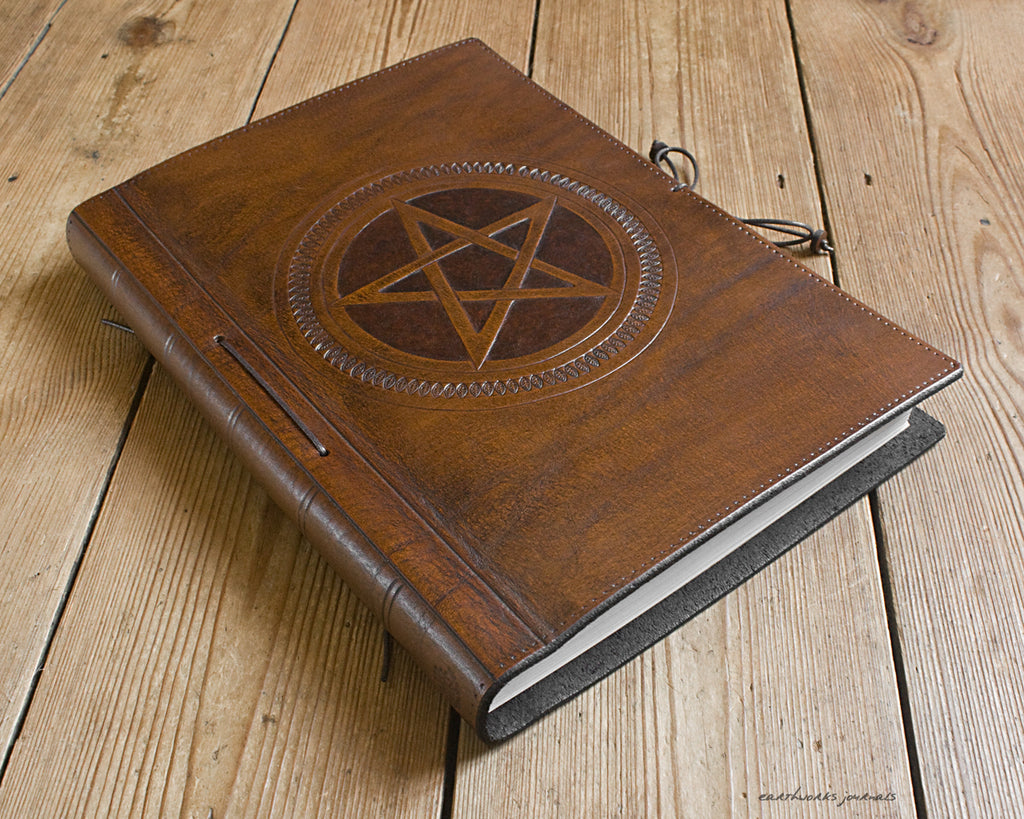 A4 brown leather journal - book of shadows 2 - pentagram design - earthworks journals A4C006