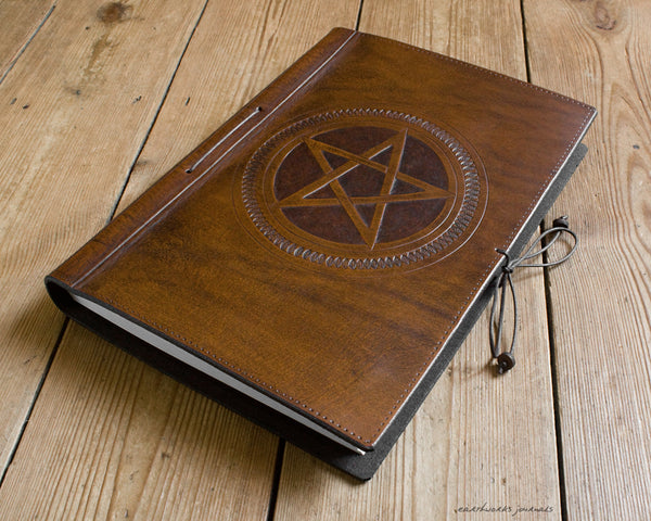 A4 brown leather journal - book of shadows 3 - pentagram design - earthworks journals A4C006